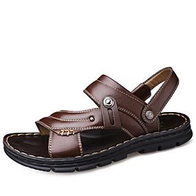 baratos Sandálias Masculinas-Homens Sapatos de couro Couro Primavera Verão Formais Sandálias Respirável Preto / Marron
