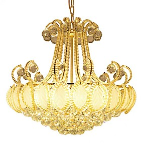 cheap Chandeliers-ZHISHU 8-Light Chandelier Ambient Light Electroplated Metal Crystal, LED 110-120V / 220-240V Warm White / White Bulb Included / E12 / E14