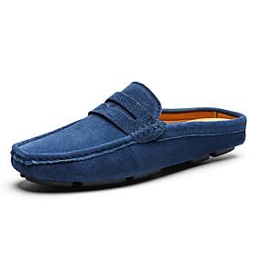Недорогие Мюли-Муж. Кожаные ботинки Свиная кожа Лето Деловые / На каждый день Башмаки и босоножки Для прогулок Нескользкий Коричневый / Зеленый / Синий