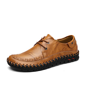 رخيصةأون أحذية أوكسفورد للرجال-رجالي أحذية جلدية جلد للربيع والصيف / خريف & شتاء الأعمال التجارية / كاجوال أوكسفورد المشي غير الانزلاق أسود / أصفر