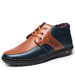 baratos Oxfords Masculinos-Homens Sapatos de couro Couro Inverno Casual Oxfords Caminhada Não escorregar Botas Cano Médio Estampa Colorida Preto / Azul Real / Sapatos Confortáveis