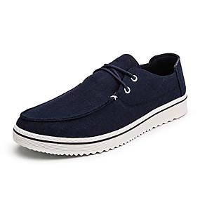baratos Oxfords Masculinos-Homens Sapatos Confortáveis Lona / Linho Primavera Verão Casual Oxfords Não escorregar Preto / Cinzento / Azul