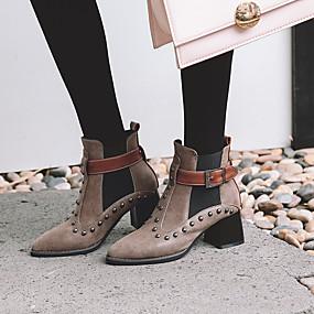 billige Mote Boots-Dame PU Høst vinter Vintage / Britisk Støvler Tykk hæl Spisstå Ankelstøvler Nagle Svart / Brun