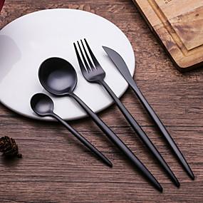 voordelige Bestek-servies 4pcs Milieuvriendelijk Hittebestendige Nieuw Design Roestvast staal Dinervork Dinermes Dessertlepel