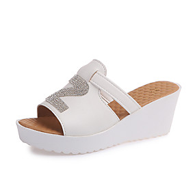 cheap Women's Slippers & Flip-Flops-Women's PU(Polyurethane) Summer Slippers & Flip-Flops Wedge Heel Black / Beige / Blue