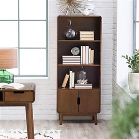 cheap Living Room Furniture-Modern Classic Mid-Century Style Bookcase Cabinet in Wallnut Wood Finish