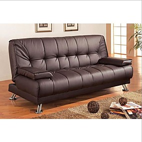 cheap Living Room Furniture-Modern Futon Style Sleeper Sofa Bed in Brown Faux Leather