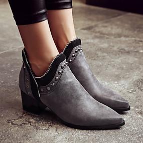 billige Mote Boots-Dame Støvler Fashion Boots Tykk hæl Spisstå Nagle PU Ankelstøvler Vintage / Britisk Høst vinter Svart / Grå / Gul / Fest / aften