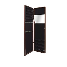 cheap Bedroom Furniture-Wall / Door Mount Jewelry Armoire / Full Length Mirror in Cherry Finish