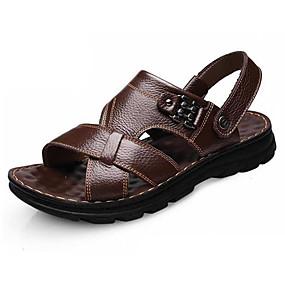 baratos Sandálias Masculinas-Homens Sapatos Confortáveis Pele Outono / Primavera Verão Vintage / Casual Sandálias Respirável Preto / Café / Ao ar livre