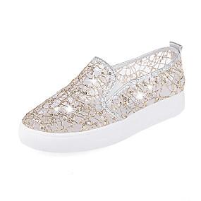 voordelige Damessneakers-Dames Sneakers Comfort schoenen Platte hak Ronde Teen Synthetisch Zomer Goud / Zwart / Zilver