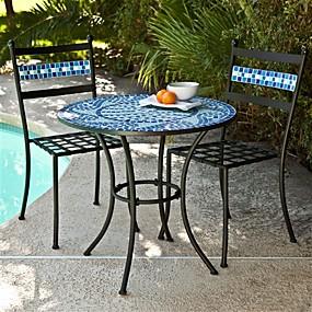 cheap Outdoor Furniture-Outdoor 3-Piece Aqua Blue Mosaic Tiles Patio Furniture Bistro Set