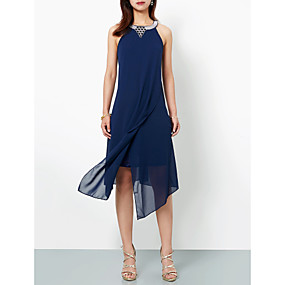 cheap Daily Deals-Casual Dress A-Line Halter Neck Asymmetrical Chiffon Dress with Appliques by LAN TING Express