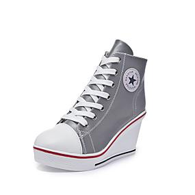 voordelige Damessneakers-Dames Sneakers Sexy Schoenen Sleehak Ronde Teen Canvas Informeel / minimalisme Lente zomer Wit / Regenboog / Feesten & Uitgaan