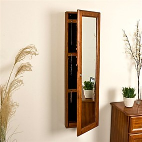 cheap Bedroom Furniture-Wall Mount Jewelry Armoire Cabinet and Mirror in Oak Wood Finish