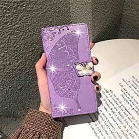 billige iPhone-etuier-taske til Apple iPhone xr / iphone xs max præget / flip / rhinestone hele krops tasker blomst / sommerfugl blød pu læder til iphone 6 / 6s / iphone 6 / 6s plus / iphone 7/8 / iphone 7/8 plus / iphone