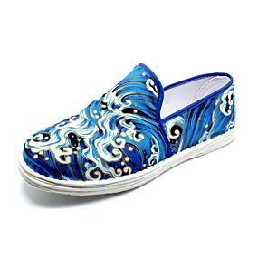 voordelige Damesinstappers & loafers-Dames Loafers & Slip-Ons Platte hak Ronde Teen Canvas Vintage Zomer Blauw
