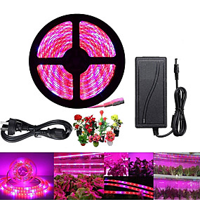 cheap Plant Growing Lights-ZDM 1 Set Plant Grow Strip Light 5M 5050 Waterproof Full Spectrum for Aquarium Hydroponic Plant Veg Garden Flowers and 12V6A Power