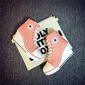 voordelige Damessneakers-Dames Sneakers Sexy Schoenen Sleehak Ronde Teen Canvas Informeel / minimalisme Lente zomer Rood / Blauw / Roze