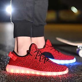baratos Sapatos Esportivos Femininos-Mulheres Tênis Sem Salto Tecido elástico Primavera Verão Preto / Vermelho / Cinzento