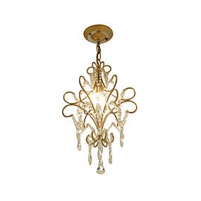 abordables Plafonniers-lustre vintage en métal / cristal lustre d'art de fer antique avec suspendu luminaire de plafond de cristal suspendu hauteur réglable doré