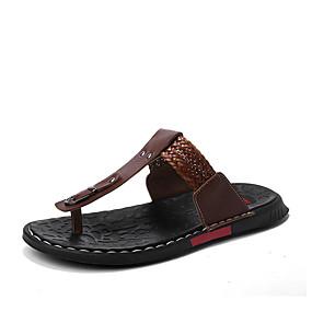 baratos Sandálias e Chinelos Masculinos-Homens Sapatos Confortáveis Pele Napa Verão Chinelos e flip-flops Caminhada Respirável Branco / Preto / Castanho Escuro