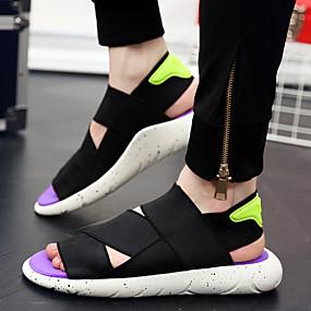 baratos Sapatos Náuticos Masculinos-Homens Sapatos Confortáveis Com Transparência Verão Casual Sapatos de Barco Caminhada Respirável Botas Cano Médio Preto / Branco e Preto / Roxo