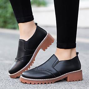 voordelige Damesinstappers & loafers-Dames Loafers & Slip-Ons Blokhak Ronde Teen Leer Vintage / Brits Wandelen Lente & Herfst / Winter Zwart / Wit