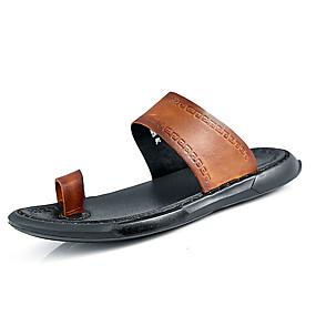 baratos Sandálias e Chinelos Masculinos-Homens Sapatos Confortáveis Couro Ecológico Verão Chinelos e flip-flops Preto / Marron