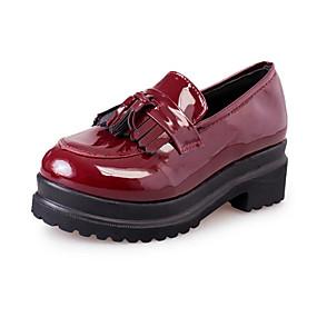 voordelige Damesinstappers & loafers-Dames Loafers & Slip-Ons Creepers Lakleer Lente & Herfst Zwart / Bordeaux