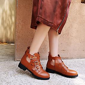 billige Mote Boots-Dame Støvler Blokker hælen Rund Tå Spenne Lakklær Ankelstøvler Fritid / Britisk Vår & Vinter Hvit / Svart / Brun