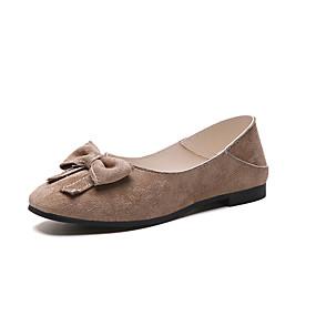 voordelige Damesschoenen met platte hak-Dames Platte schoenen Lage hak Gesloten teen PU Zomer Zwart / Amandel