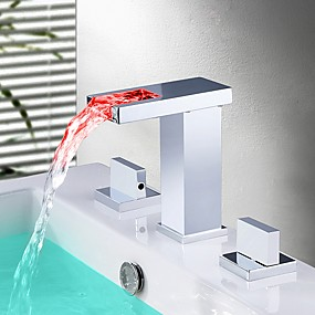 cheap New Arrivals-Bathroom Sink Faucet - Waterfall / LED Chrome Widespread Two Handles Three HolesBath Taps