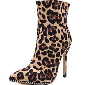 billige Mote Boots-Dame Støvler Stiletthæl Spisstå Dyremønster Semsket lær Ankelstøvler Sommer Brun / Leopard