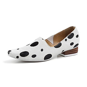 voordelige Damesinstappers & loafers-Dames Loafers & Slip-Ons Lage hak Gepuntte Teen Polyester Lente Wit / Zwart