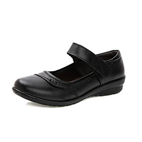 voordelige Damesschoenen met platte hak-Dames Platte schoenen Sleehak Ronde Teen Nappaleer Vintage Zomer Zwart