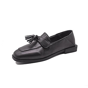 voordelige Damesinstappers & loafers-Dames Loafers & Slip-Ons Blok hiel Ronde Teen Strik PU Studentikoos Lente zomer Zwart