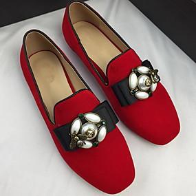 voordelige Damesschoenen met platte hak-Dames Platte schoenen Platte hak Ronde Teen Parel Suède Zomer Zwart / Rood
