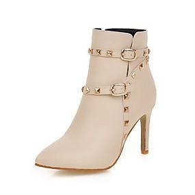 billige Mote Boots-Dame Støvler Stiletthæl Spisstå Nagle / Spenne Fuskelær Ankelstøvler Fritid / minimalisme Gange Vår & Vinter / Høst vinter Svart / Hvit / Rosa