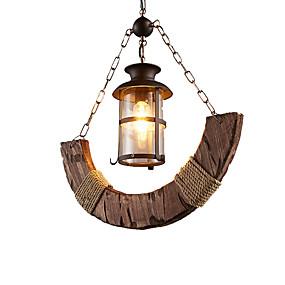billige Hengelamper-industrielt enkelt anheng lysekrone med hamp tau dekor 1 lys anheng lysarmatur rustikk hengende lys høyde justerbar omgivende lys malt ferdig tre