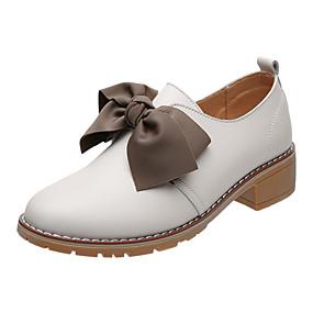 voordelige Damesinstappers & loafers-Dames Loafers & Slip-Ons Blok hiel Leer Studentikoos Wandelen Zomer Wit / Zwart / Khaki / Feesten & Uitgaan