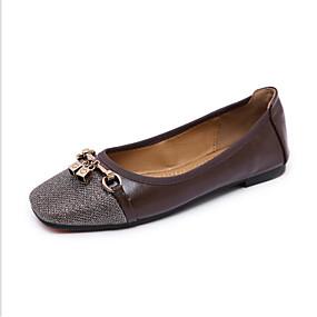 voordelige Damesinstappers & loafers-Dames Loafers & Slip-Ons Lage hak Vierkante Teen Polyester Lente Zwart / Bruin / Amandel