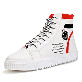 baratos Tênis Masculino-Homens Fashion Boots Camurça / Couro Ecológico Primavera / Outono Tênis Caminhada Estampa Colorida Branco e Preto / Rosa e Branco / Branco e Verde