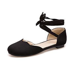 voordelige Damesschoenen met platte hak-Dames Platte schoenen Platte hak Ronde Teen Strik Suède Zoet Lente & Herfst Beige / Roze / Bordeaux