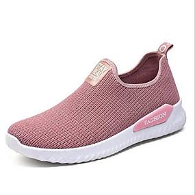 voordelige Damessneakers-Dames Sneakers Platte hak Ronde Teen Netstof Lente & Herfst Zwart / Roze / Grijs