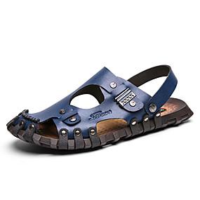 baratos Sandálias Masculinas-Homens Sapatos Confortáveis Microfibra Primavera Verão Clássico Sandálias Respirável Slogan Preto / Azul / Marron