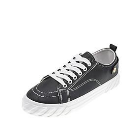 voordelige Damessneakers-Dames Sneakers Platte hak Ronde Teen Canvas Herfst Zwart / Wit