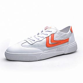 baratos Tênis Masculino-Homens Sapatos Confortáveis Algodão Primavera / Outono Casual Tênis Caminhada Respirável Estampa Colorida Branco e Preto / Branco / azul / Laranja
