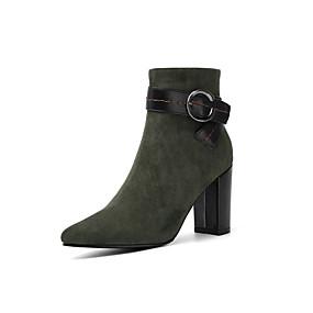 billige Mote Boots-Dame Støvler Tykk hæl Spisstå Spenne Semsket lær Ankelstøvler minimalisme Høst vinter Svart / Grønn / Burgunder / Fest / aften