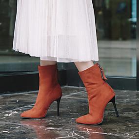 billige Mote Boots-Dame Støvler Stiletthæl Spisstå Semsket lær Ankelstøvler Klassisk Høst vinter Svart / Lilla / Oransje / Fest / aften
